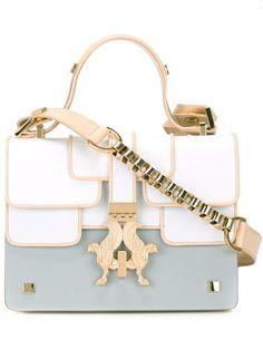 GIANCARLO PETRIGLIA chain detail shoulder bag. #giancarlopetriglia #bags #shoulder bags #leather #