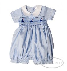 The Annafie Romper with sailing boats was originally IDed as what George wore. It is not the same piece, but it *is* darling and a very good repliGeorge.