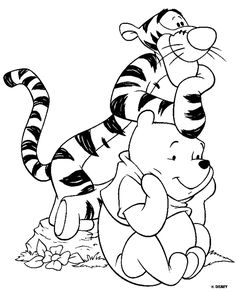 Disney Animals, Baby bear and Tiger coloring page