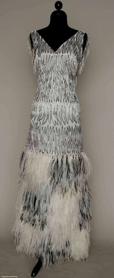 Augusta Auctions: galanos bead & feather evening gown, 1970s  #vintage #fashion