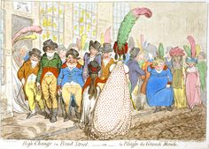 In High-Change in Bond Street,—ou—la Politesse du Grande Monde James Gillray caricatured the lack of etiquette in a group of men leering at women and crowding them off a pavement. James Gillray, American Quilt, Get More Followers, Philadelphia Museum Of Art, Regency Era, Bond Street, Jane Austen, Etiquette, Cartoon