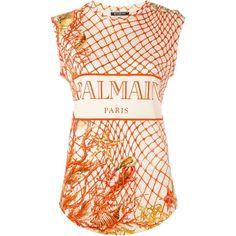 Balmain fishing net print tank top ($800) ❤ liked on Polyvore featuring tops, pink tank top, print tank, print top, pink top and sleeveless tank tops