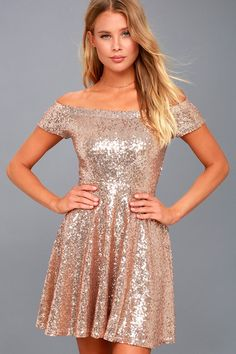 Lulus Exclusive! Wow them with your sparkling ensemble in the Dazzle Darling Rose Gold Sequin Off-the-Shoulder Skater Dress! Stunning rose gold sequins shine over an elasticized, off-the-shoulder bodice with short sleeves. Fitted waist and seamed skater skirt.