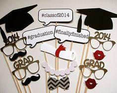 Graduación Atrezzo Photo Booth. 2014 graduación Atrezzo Photo Booth. Graduación. Clase de 2014. Glitter y metálico. Conjunto de 16