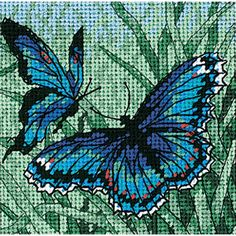 "Butterfly Duo Mini Needlepoint Kit-5""X5"" Stitched In Thread - 14310718 - Overstock.com Shopping - Big Discounts on Dimensions Needlework Kits"