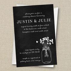 Wedding Shower Invitation - Mason Jar and a bit of Baby's Breath Digital Printable File on Etsy, $10.00