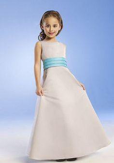 Bateau A line Satin Natural Waist With Ruching Floor Length Junior Dress - Angeldress.co.uk