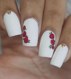 82 Glitter Nail Art Designs by Gabby Morris – Cool Fashion Accessories - Diy Nail Designs Rose Nail Art, White Nail Art, Rose Nails, Glitter Nail Art, Flower Nails, White Nails, Glitter Bomb, Glitter Letters, White Nail Designs