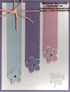 Handmade thinking of you card by Michele Reynolds, Inspiration Ink, using Stampin Up! products - Petite Petals Set, Peaceful Petals Set, Perfect Polka Dots Embossing Folder, Petite Petals Punch, Rhinestone Basic Jewels, and Sweet Sorbet Accessory Pack from Sale-A-Bration 2014.
