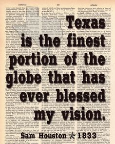 Vintage Dictionary Texas Print - Sam Houston quote