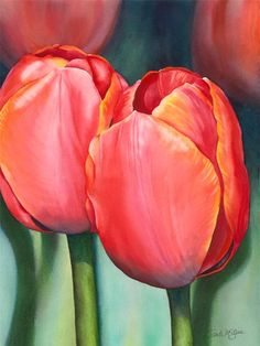 Beautiful watercolor tulips by Sandy. I went to school with her back in the day... #watercolorarts