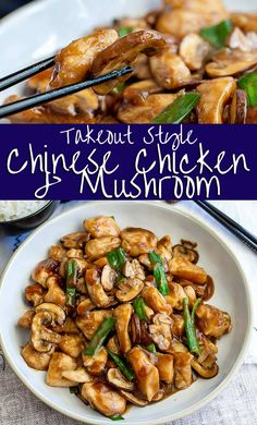 With this Takeout Style, Chinese Chicken and Mushrooms stir fry, you can have a healthy Asian chicken dinner on the table in no time. Making Chinese takeout recipes at home is much easier than you thi Asian Chicken Recipes, Asian Dinner Recipes, Chicken Mushroom Recipes, Healthy Mushroom Recipes, Easy Asian Recipes, Chinese Chicken Thigh Recipes, Chicken Mushroom Stir Fry, Mushrooms Recipes, Chicken Mushrooms