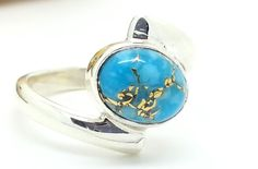 925 Sterling Silver & Oval Blue Copper Turquoise Ring Size L  (+ Gift Bag) UK