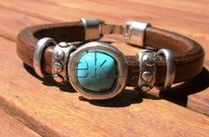 turquoise bracelets for women | women 10mm licorice camel brown leather bracelet with silver floral ...