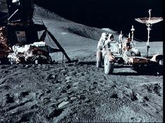 Apollo 15: Driving on the Moon (February 23, 1996)  Apollo 15 astronaut James Irwin works on the first Lunar Roving Vehicle, before he and fellow astronaut David Scott take it out for a drive.