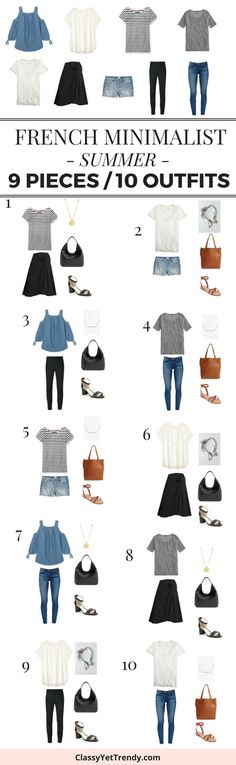 Turn 9 tops and bottoms into 10 outfits, French style!   If you have these 9 pieces in your closet, you can turn them into 10 outfits!  These 9 tops and bottoms are classic and timeless pieces with a modern style that you may already have in your closet!  They mix well with one another because of the neutral tones.  Pieces featured are a white tee, ivory blouse, cold shoulder chambray top, gray tee, striped top, black wrap skirt, ankle pants, jeans and denim shorts.