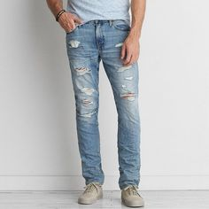 Slim Jean ($50) ❤ liked on Polyvore featuring men's fashion, men's clothing, men's jeans, blue, mens blue jeans, mens ripped jeans, mens slim fit jeans, american eagle outfitters mens jeans and mens distressed jeans
