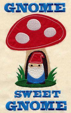 Gnome Sweet Gnome machine embroidery pattern #dwarf #gnome #gnomo #nainjardin #mushroom #amanita - Carefully selected by Gorgonia www.gorgonia.it