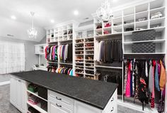 Traditional Closet with Steel Grey Granite Countertop, Built-in bookshelf, Carpet, Pendant Light, Cathedral ceiling