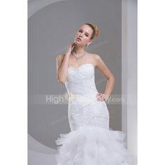 Luxurious Ivory Sweetheart Trumpet / Mermaid Chapel Train Beading Satin Wedding Dress