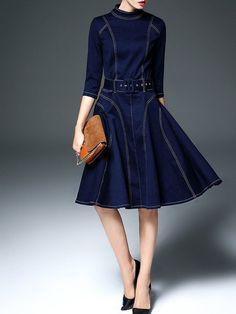 Shop Midi Dresses - Dark Blue Big Hem Dress Vintage Denim Midi Dress online. Discover unique designers fashion at StyleWe.com.