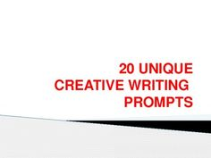 This packet contains 20 creative writing prompts / tasks.  Each one can be modified to have students focus on particular skills, like using present tense, first person, figurative language, etc.  I use these as in the door / bell ringer activities, for students who finish in-class work / tests early, or to have students create submissions for the literary magazine or writing contests.