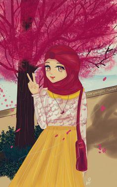 Hijabi Girl, Girl Hijab, Muslim Girls, Muslim Women, Girl Cartoon, Cute Cartoon, Animation Schools, Hijab Drawing, Islamic Cartoon