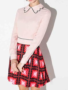 Color Block Peter Pan Collar Mosaic Print Dress