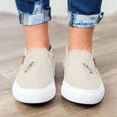 265a4743168 Large Size Zipper Denim Loafers Flats Canvas Shoes Women Casual Slip –  shecici