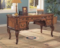 This Antique Home Office Desk by Coaster adorned with beautiful moldings and antique brass finished hardware will fill your work place with gorgeous traditional style. This elegant desk with burl wood inlays on the desk top and sides. Antique Writing Desk, Antique Desk, Antique Brass, Writing Table, Maple Furniture, Wood Furniture, Antique Furniture, Furniture Ideas, Empire Furniture