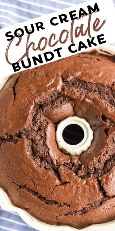 Sour Cream Chocolate Bundt Cake Easy, from scratch, sour cream chocolate bundt cake. This copycat Williams Sonoma recipe is moist & delicious and perfect topped with ice cream. Desserts Keto, No Bake Desserts, Chocolate Desserts, Easy Desserts, Delicious Desserts, Dessert Recipes, Chocolate Cream, Cake Chocolate, Chocolate Cake Recipe Using Sour Cream