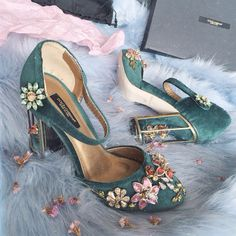 Dolce & Gabbana | Jeweled Shoes | Mary Jans | Green Velvet