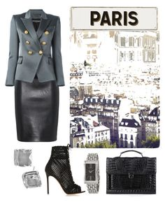 """""""On a Mission in Paris"""" by sanestyle ❤ liked on Polyvore featuring Moschino, Balmain, Gianvito Rossi, Anne Sisteron, Kate Spade and Rosanna"""