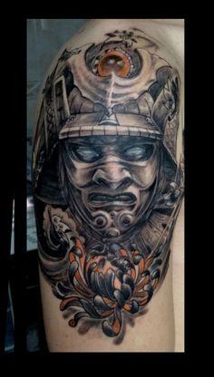 amazing samurai mask tattoo