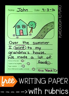 6 free writing papers with rubrics! Perfect for kindergarten, first grade or second grade writing centers.