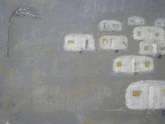 Jane Lion  1 Tree 9 Caravans 24x30cm  acrylic on canvas panel Caravan Painting