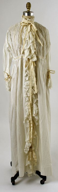 1880 Nightgown  Culture: American  Medium: cotton, silk