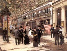 Jean Béraud; Le Boulevard Montmartre animé, devant le Théâtre des Variétés (1878)