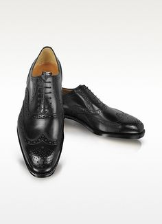 Black Leather Wingtip Oxford Shoes - Shiny black leather is accentuated by a brogued wingtip design and oxford lacing. Made in Italy. Men's Shoes, Shoe Boots, Dress Shoes, Mens Wingtip Shoes, Gentleman Shoes, Shoe Department, Stylish Men, Discount Shoes, Oxford Shoes