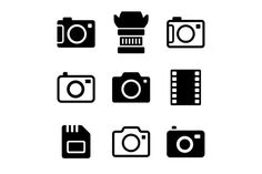 Buy Photo Camera and Accessories Icons Set by In-Finity on GraphicRiver. Photo Camera and Accessories Icons Set on White Background Camera Logo, Camera Icon, Kamera Tattoos, Camera Drawing, Texture Web, Film Logo, Stock Photo Sites, Tattoo Photography, Iconic Photos
