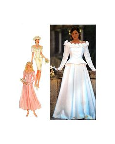 90s Style 2602 Boat/Bateau Neck Bridal, Bridesmaid, Mother of the Bride Jacket & Short or Long Skirt, U/C, F/F, Sewing Pattern Size 8-18 Mother Of The Bride Jackets, 90s Style, Straight Skirt, Flare Skirt, Ankle Length, 90s Fashion, Sewing Patterns, Boat, Bridesmaid