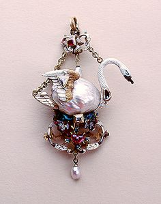 Pendant: Swan    Circa 1590    Unknown craftsman    The Netherlands    Gold, enamel, rubies, pearls and uncut diamonds; chased and engraved