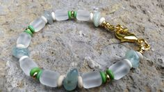 Beaded Bracelet Beach-Glass Tubes Apatite by GemsJewelsGirls