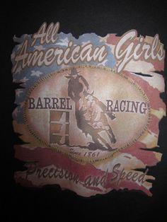 XL All American Girls Barrel Racing Black T Shirt Cowgirl Horse Precision Speed #AllAmericanGirls #BarrelRacing #PrecisionAndSpeed #Cowgirls #Horse