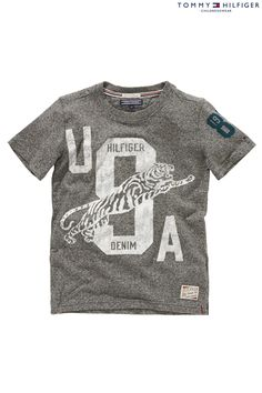 Buy Tommy Hilfiger Grey Logo T-Shirt (7-16yrs) from the Next UK online shop