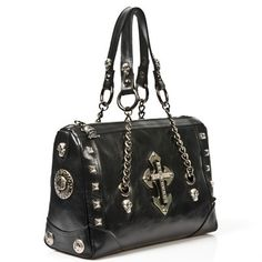 MBAG025-C2 Black New Rock Handbag with Cross Detail  Over the top? Yes. Do I still want it? Yes.