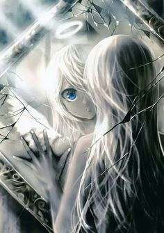 Anime angel looking at mirror #anime #manga