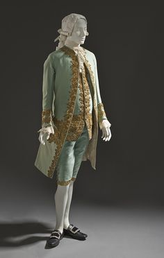 France  Man's Suit, circa 1760  Costume/clothing principle attire/entire body, Coat and waistcoat: wool plain weave, full finish, with sequins and metallic-thread embroidered appliqués; breeches: wool plain weave, full finish, with silk and metallic-thread passementerie
