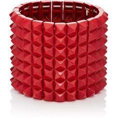 Valentino Garavani Women's Pyramid-Stud Stretch Bracelet ($519) ❤ liked on Polyvore featuring jewelry, bracelets, red, metal bangles, metal jewelry, red jewellery, metal jewellery and polish jewelry