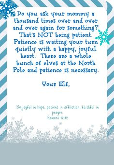 Elf on the shelf day printables that instill good habits/behavior with bible verses!